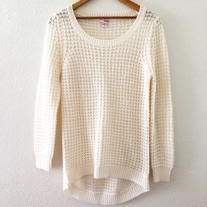 Bongo 100% Acrylic Open Weave Long Cream Sweater